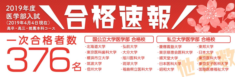 2019年度医学部入試 合格速報